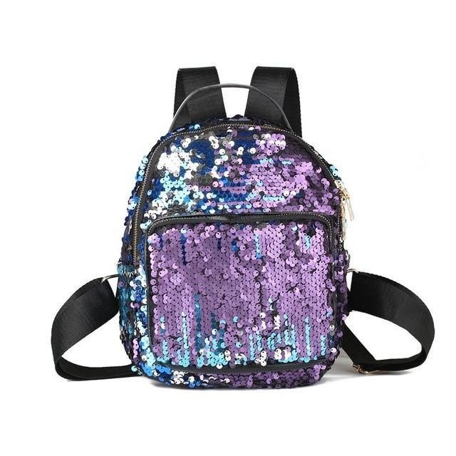cf489d12794a High Quality 2017 Fashion Sequins Backpack Women BlingBling Leisure Travel  Bag Student Small Paillette School Bag