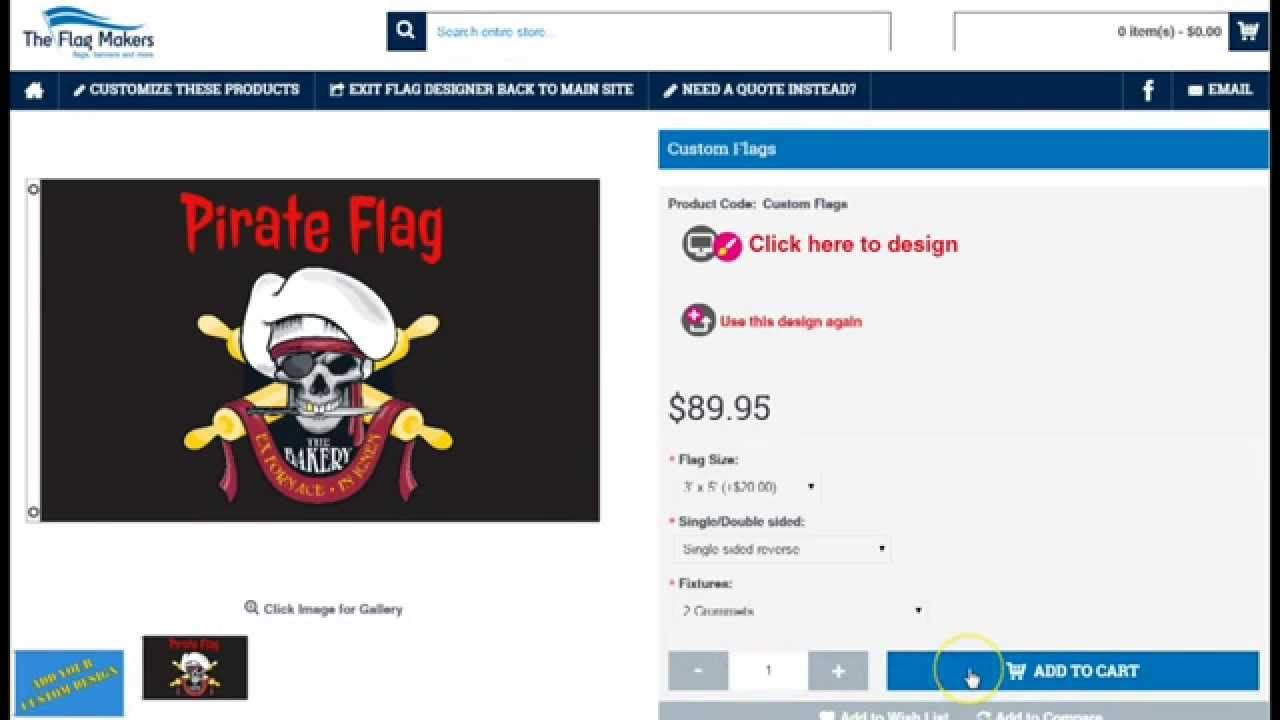 How to custom design a pirate flag online by The Flag Makers
