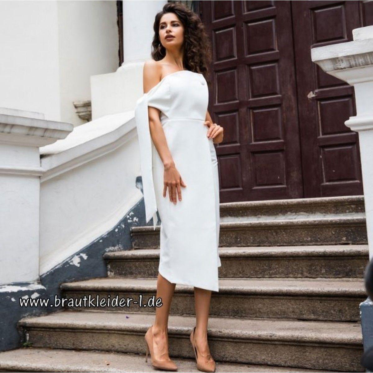 Chickes Schulterfreies Kleid für den Standesamt in Weiß ...