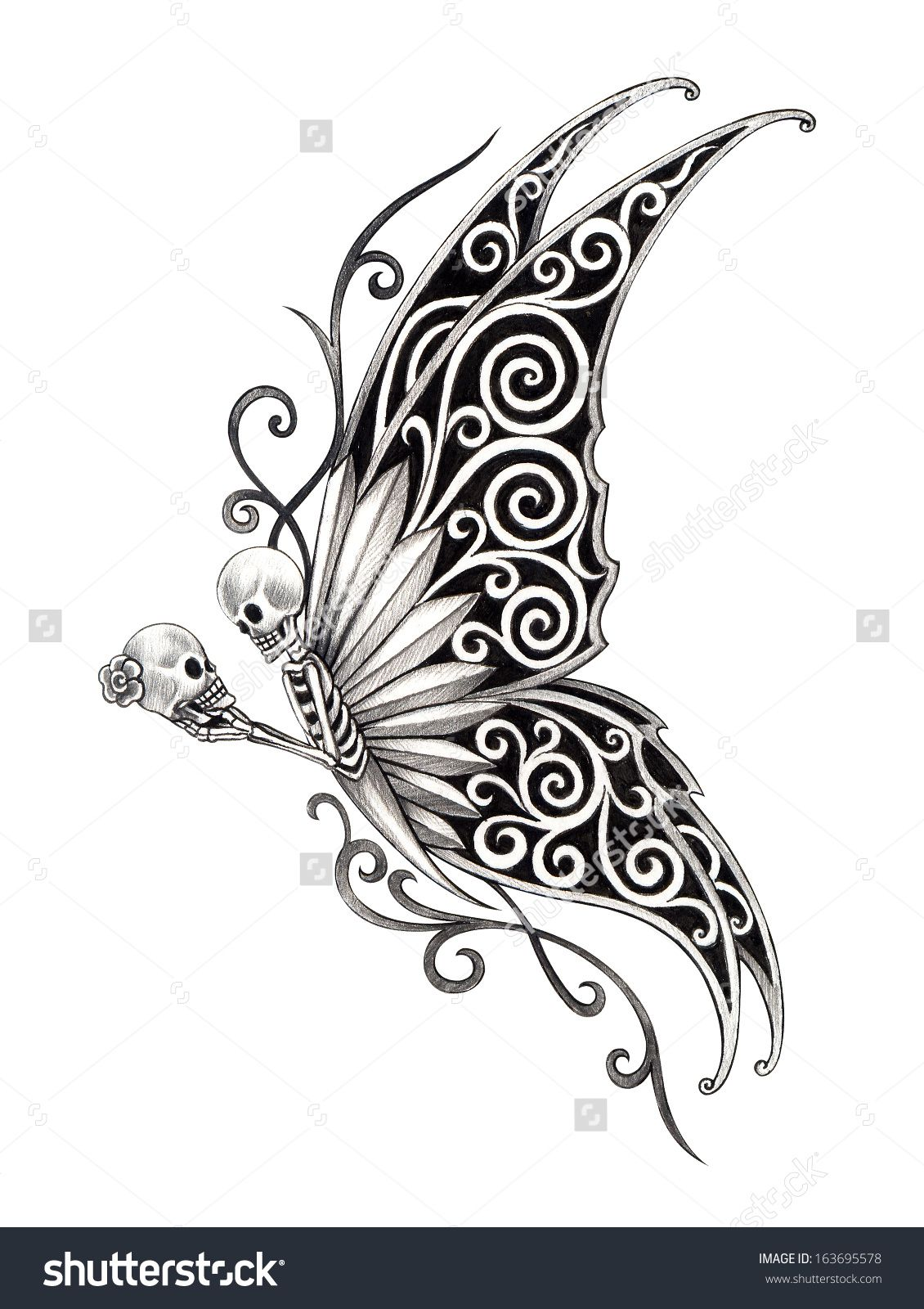 Image result for skull butterfly Skull butterfly tattoo