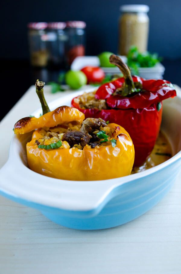 Bell Peppers Stuffed With Spelt And Lamb Recipe With Images Stuffed Peppers Stuffed Bell Peppers Freekeh
