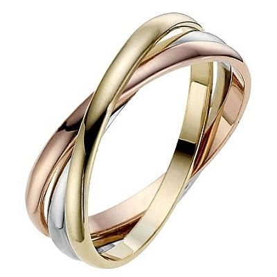 Three Colour Gold Russian Wedding Ring With Free Uk Delivery At Bijou Jewellery White