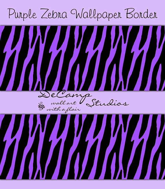 Purple Zebra Print Wallpaper Border Wall Decals For Teen Girls Bedroom Or  Childrenu0027s Room Decor #