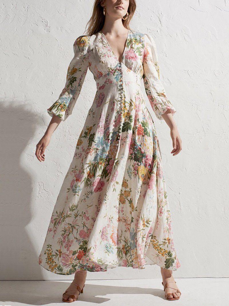Elegant Deep V Neck Printed Colour Dress Linen Maxi Dress Zimmerman Dress Summer Dresses For Women [ 1067 x 800 Pixel ]