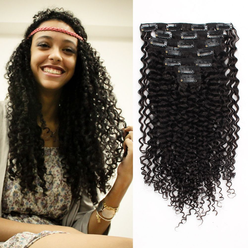 Clip In Hair Extension Jerry Curl Clip In Hair Extensions Curly