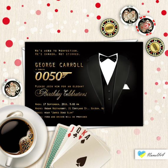Mens birthday party invitation james bond themed modern style mens birthday party invitation james bond themed modern style any age printable card aged to perfection dad black white red gift for him stopboris Choice Image