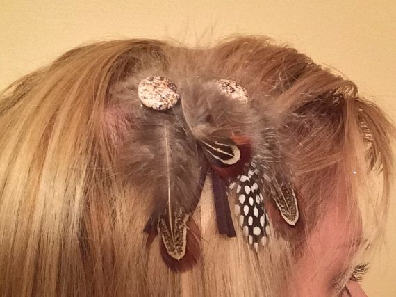 feather and beaded lobster claw clip by LuvUrselfJewelry on Etsy