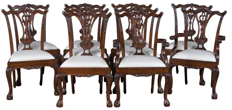 Set Of 10 Carved Ball And Claw Mahogany Dining Chairs