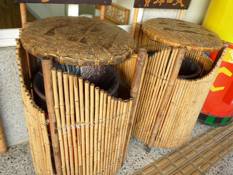Bamboo dustbin. Two different techniques, weaving bamboo on the bin cover and bamboo panel