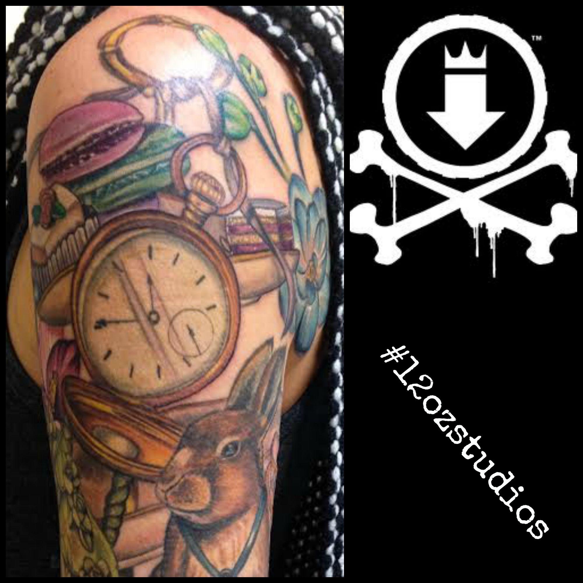 Full color Alice In Wonderland tattoo sleeve in progress female ... - Tattoo Alice Im Wunderland