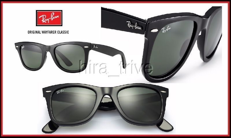 33390ce45a2 Ray Ban RB2140 Wayfarer 901 50mm Sunglasses Black w Green lens NEW Authentic   RayBan
