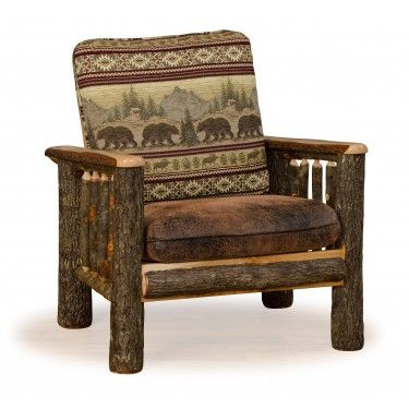 Rustic Hickory Log Faux Leather Living Room Chair Leather Chair Living Room Game Room Chairs