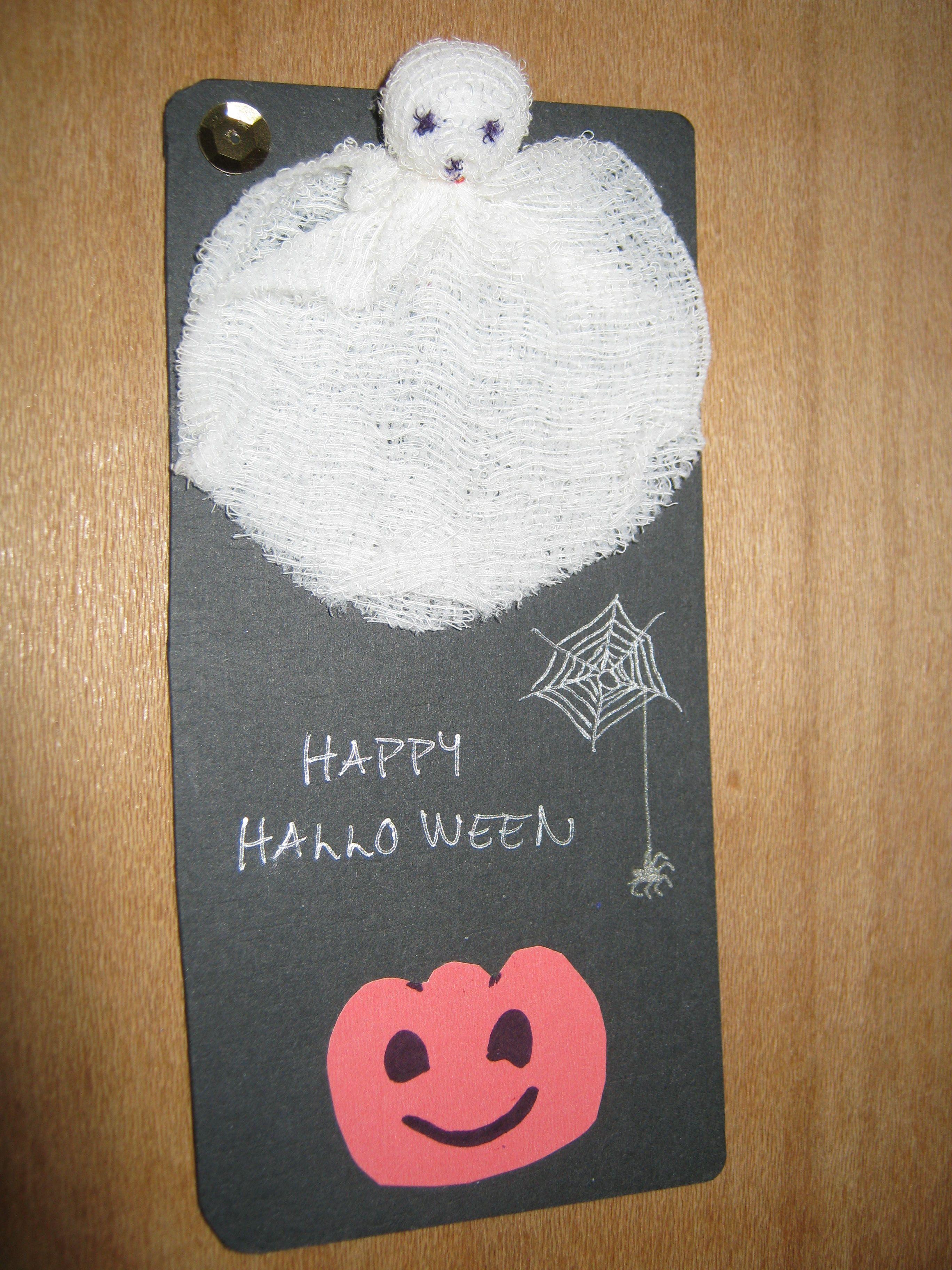 Happy Halloween kortti. Kummitus askarreltu sideharsosta. ( kortit, kortteja )