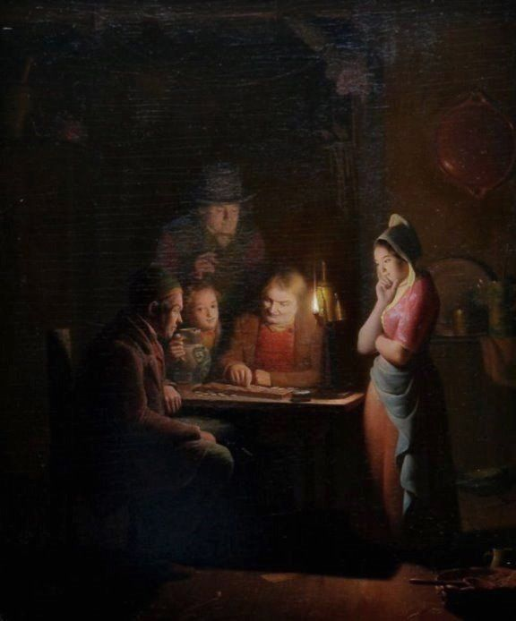 Rosierse, Johannes (b,1818)- Playing Checkers by Candlelight -2a