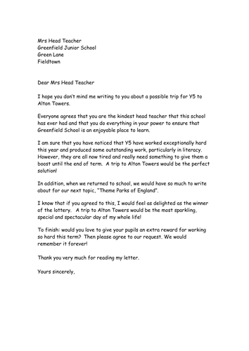 Persuasive Letter  Example And Box Plan  Education