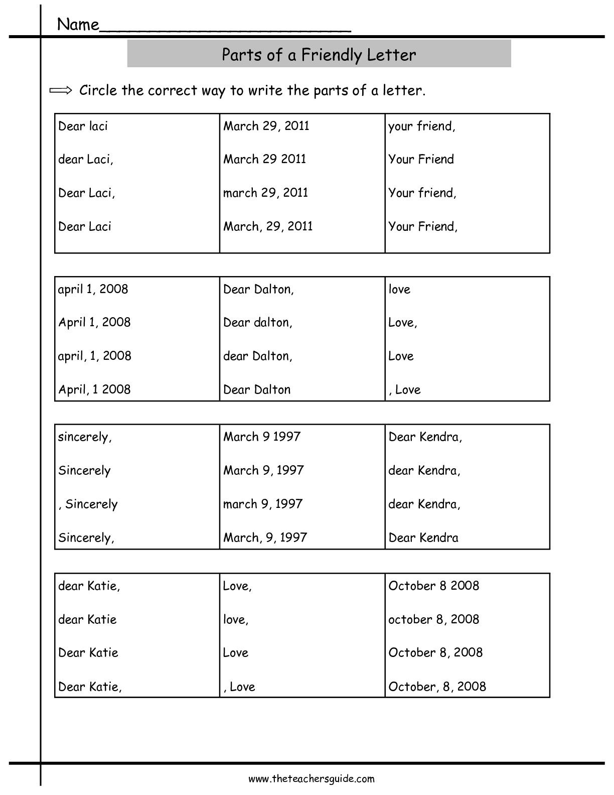 Parts Of A Friendly Letter Worksheet