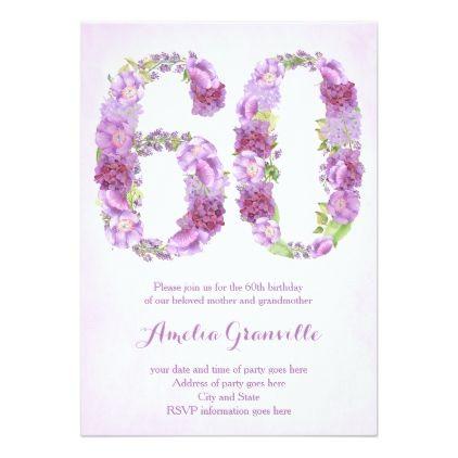 Female 60th Birthday Invitations Lavender Invites