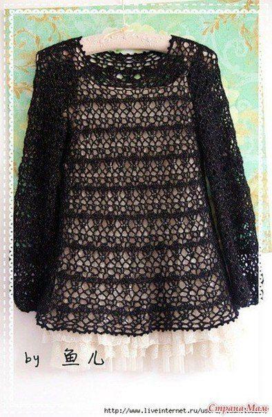 Delicadezas en crochet Gabriela: Túnica en ganchillo de color negro