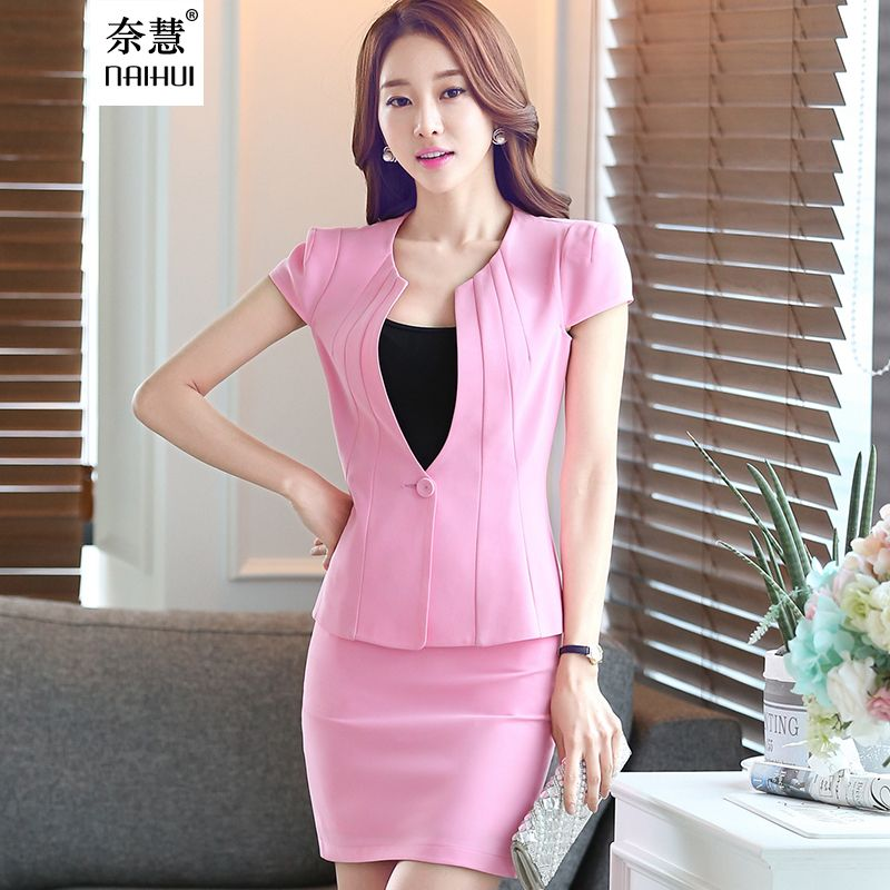 60ff71ab4c81f 2016 Korean style slim women s office skirt suit work wear formal short  sleeve Patchwork blazer skirt plus size 3XL uniform
