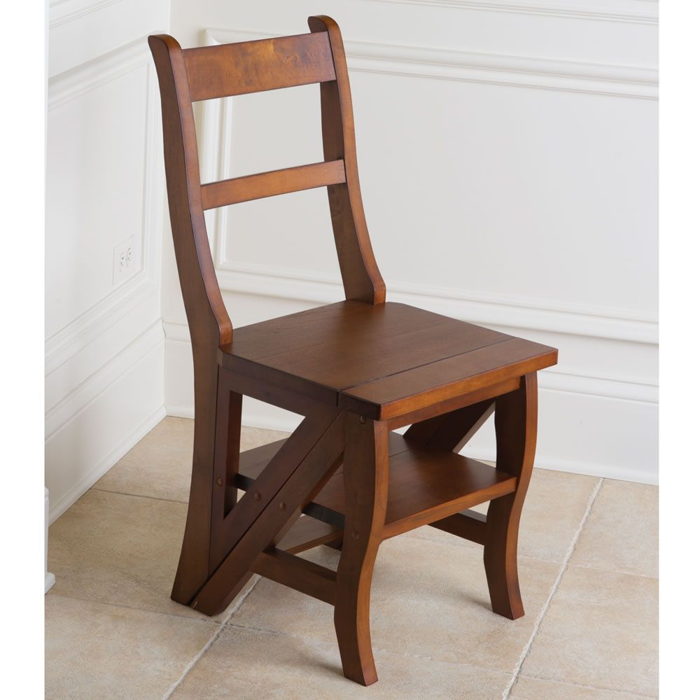 Wooden Library Chair Advanced Church Chairs The Benjamin Franklin Ladder Hammacher Schlemmer Solid Wood Chestnut Finish Supports Up To 275 Assembly Required
