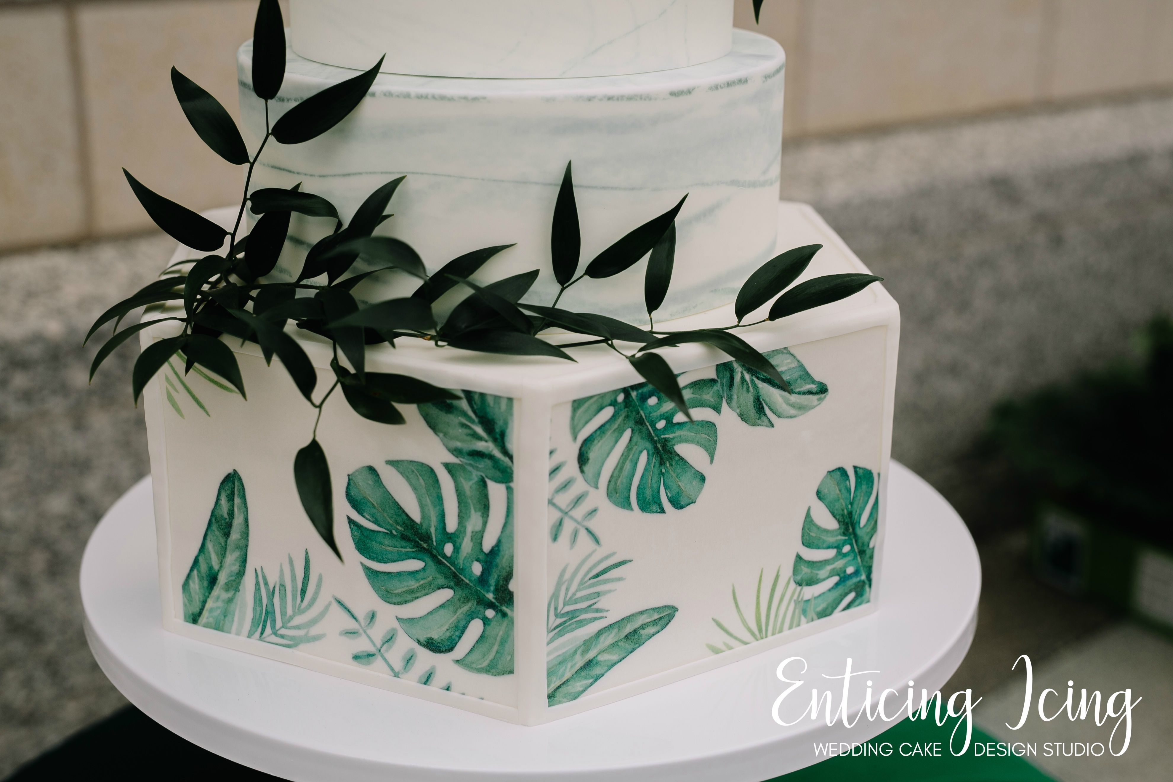 4 Tier Modern Wedding Cake Jungle Luxe Green And White