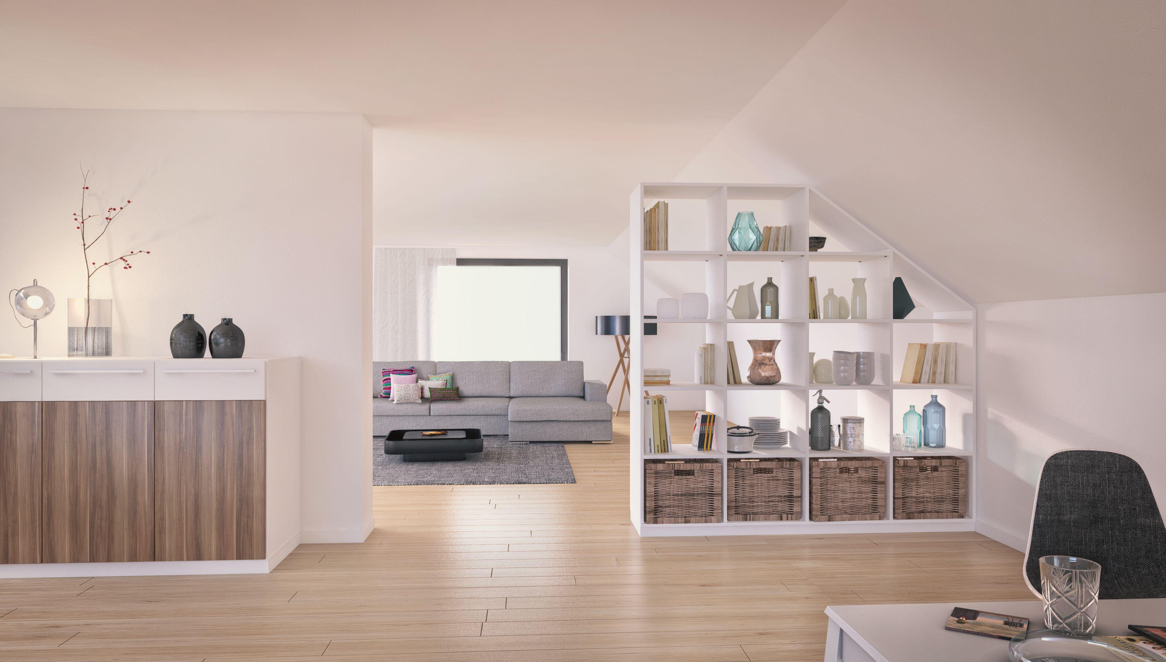 der raumteiler der perfekt unter die dachschr ge passt separiert den wohn vom arbeitsbereich. Black Bedroom Furniture Sets. Home Design Ideas
