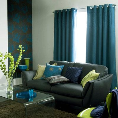 Teal Curtains Gray Couch Living Rooms Room Decor Grey