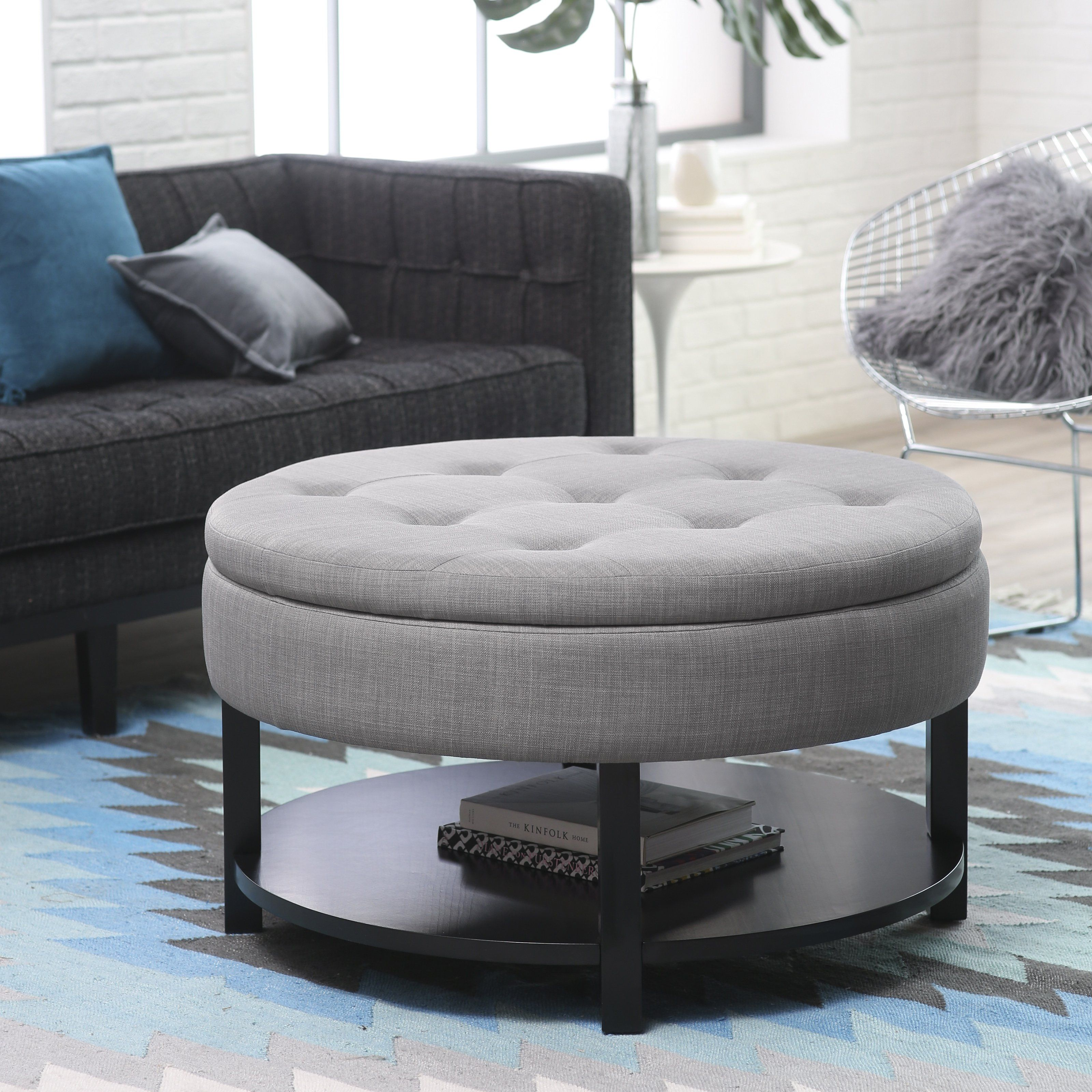 Belham Living Dalton Coffee Table Storage Ottoman with Tray Shelf