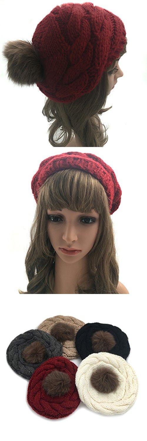a8002b7b08a JULY SHEEP Womens Girls Winter Knitted Hat Wool Beret Pompom Hat Slouchy  Beanie With Real Fox