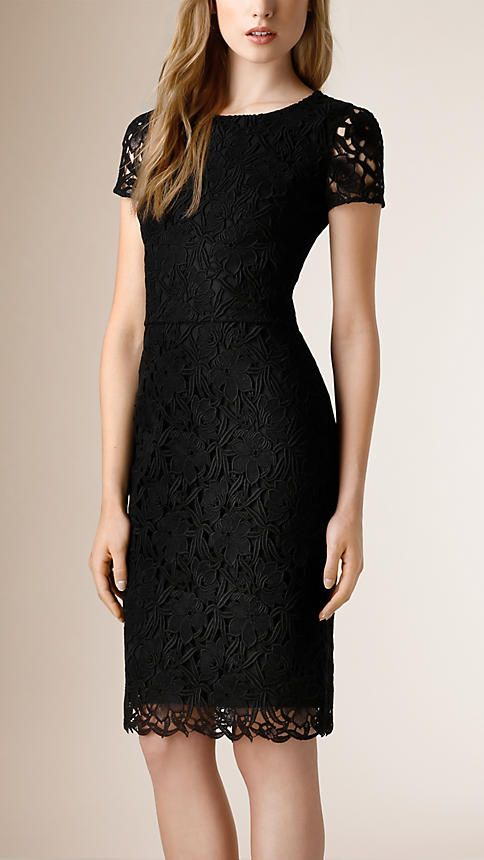 c224a9e052 Negro Vestido de encaje floral - Imagen 1