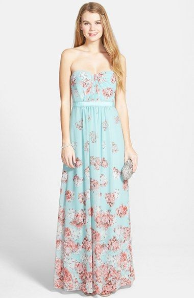 Free shipping and returns on BCBGMAXAZRIA  Amber  Print Georgette Gown at  Nordstrom.com. Stippled spots quietly pattern this fresh 67f098bf551a