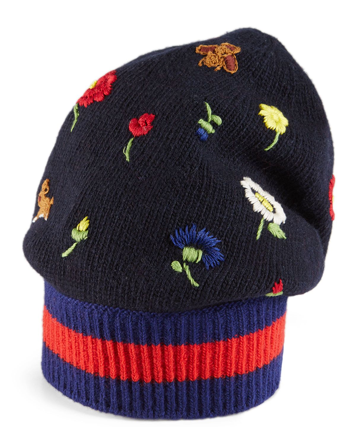 Gucci Flower & Bee-Embroidered Knit Hat, Navy/Blue