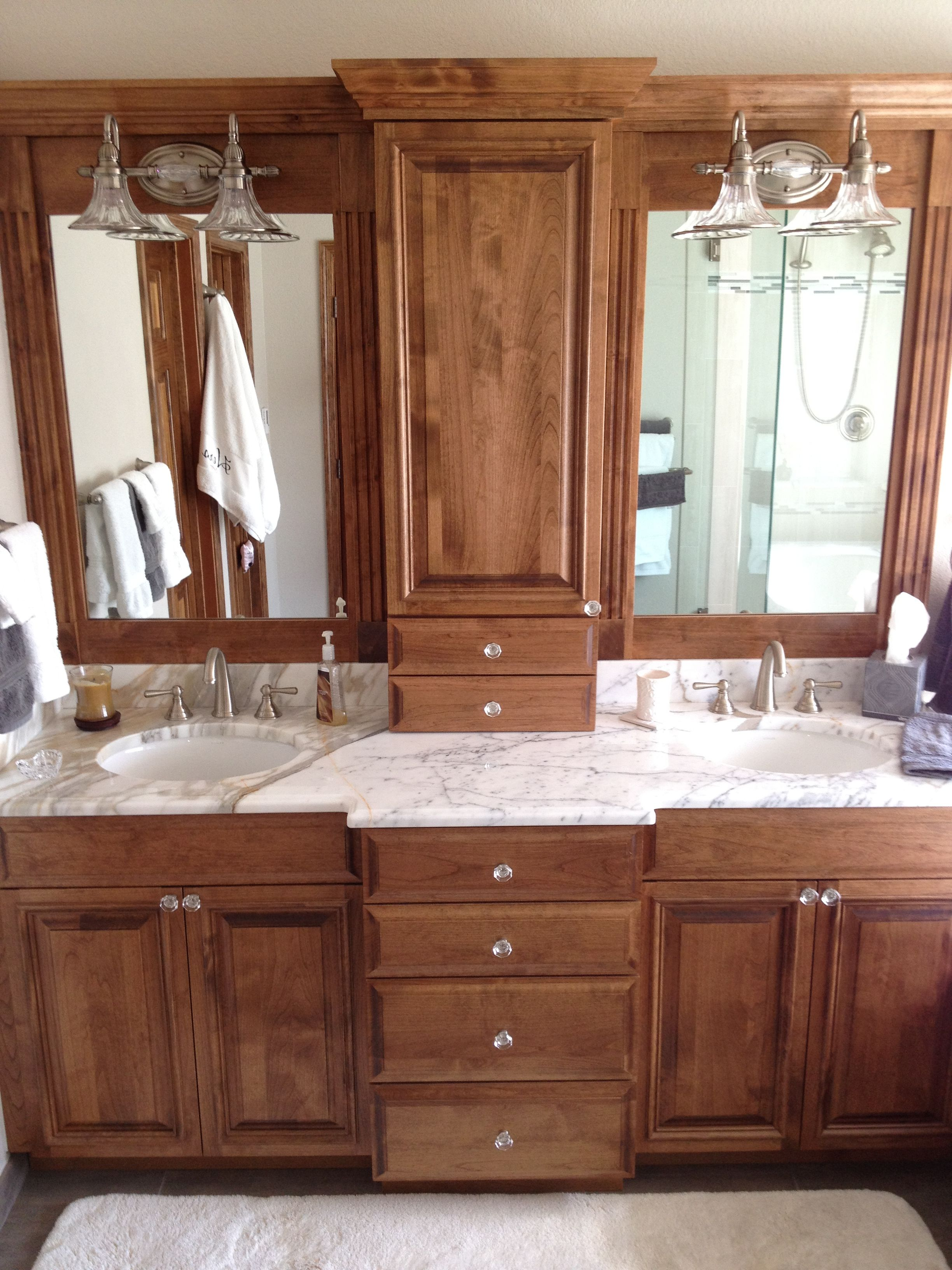 Mirrors Over Double Vanities Custom 80inch Vanity And Mirrors With Center Countertop