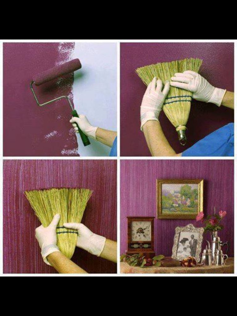Paint The Wall Have A Witch Broom Drag Over Wet Paint Creates