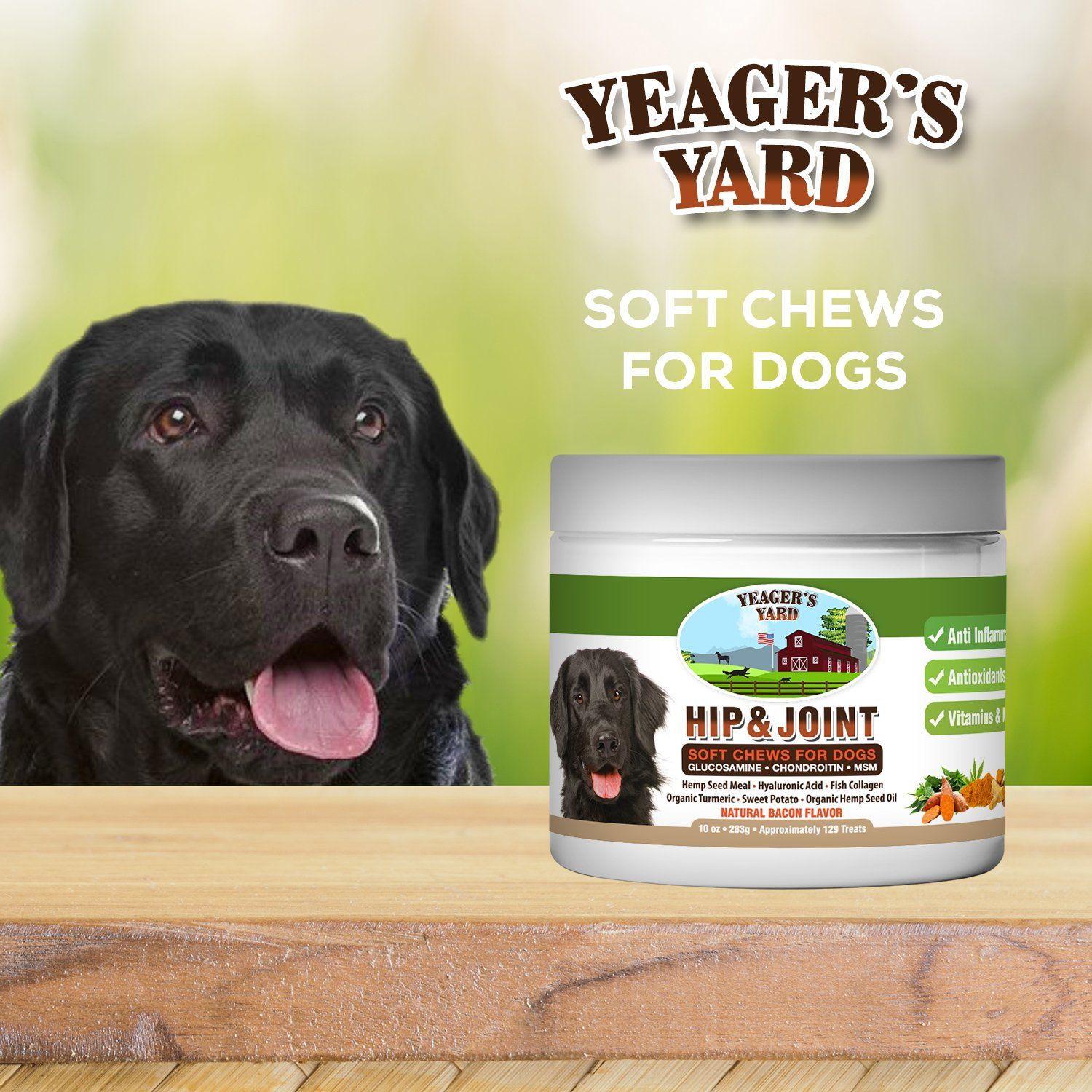 Yeagers Yard All Natural Organic Hip And Joint Supplement For Dogs