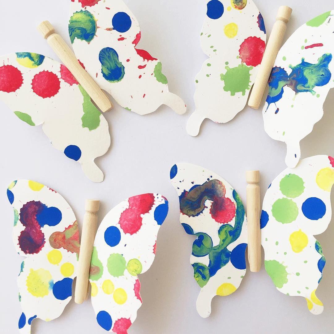 Paint Drip Art With Miniature Dolly Peg Butterflies Www