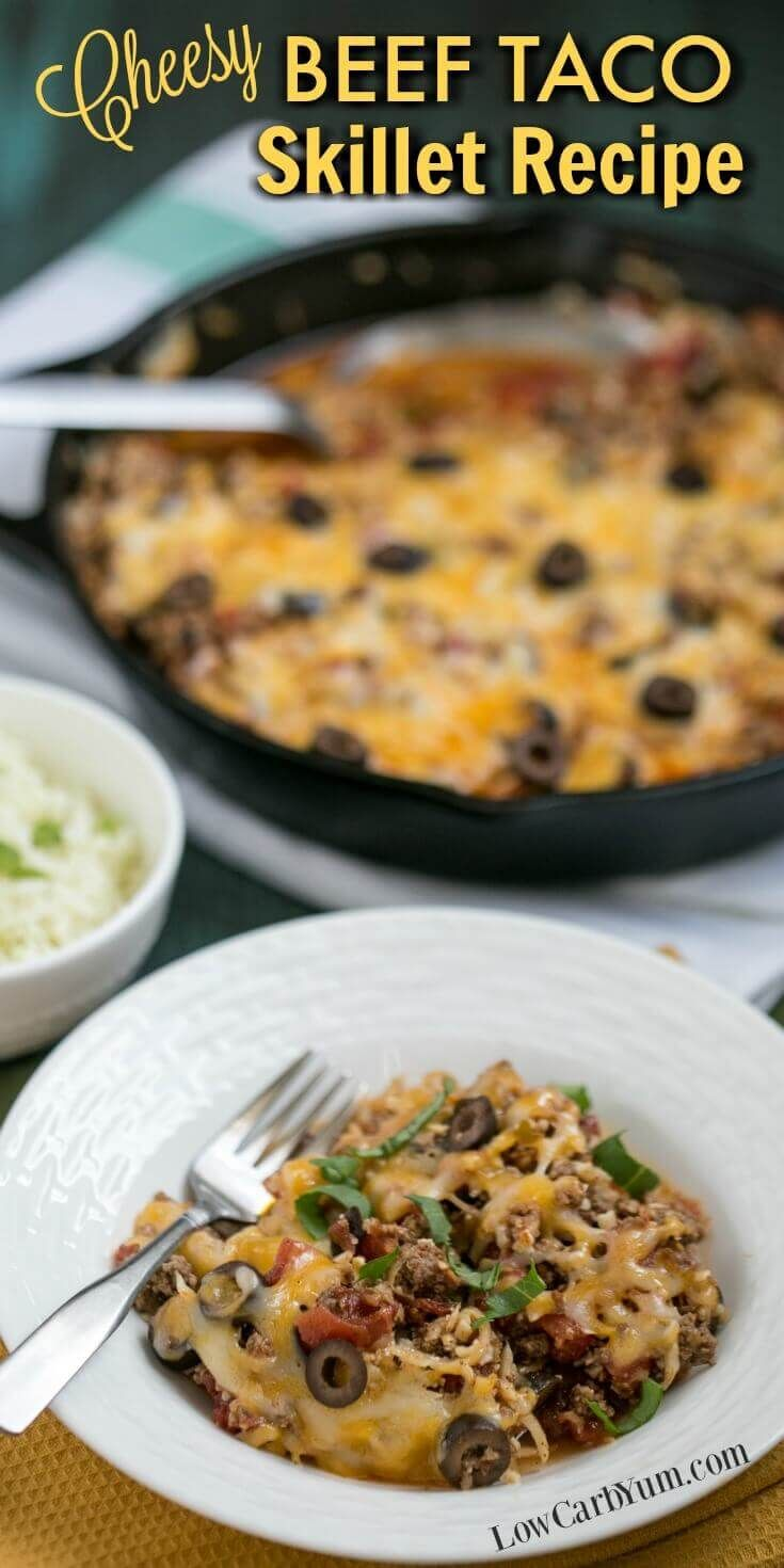 ... Low Carb). Cheesy Beef Taco Skillet Recipe with Cauliflower Rice via  @lowcarbyum