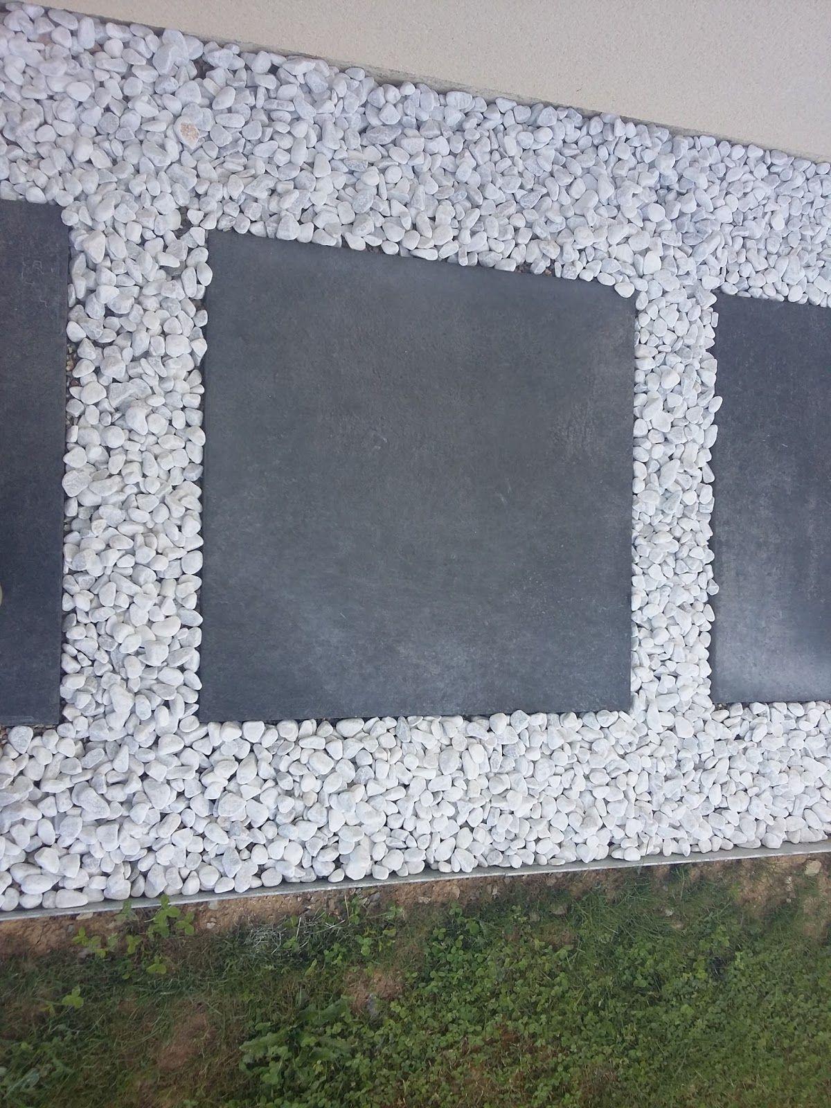 Allee Dalle Et Galet Blanc Avec Images Decoration Jardin Exterieur Dalle Jardin Terrasse Gravier