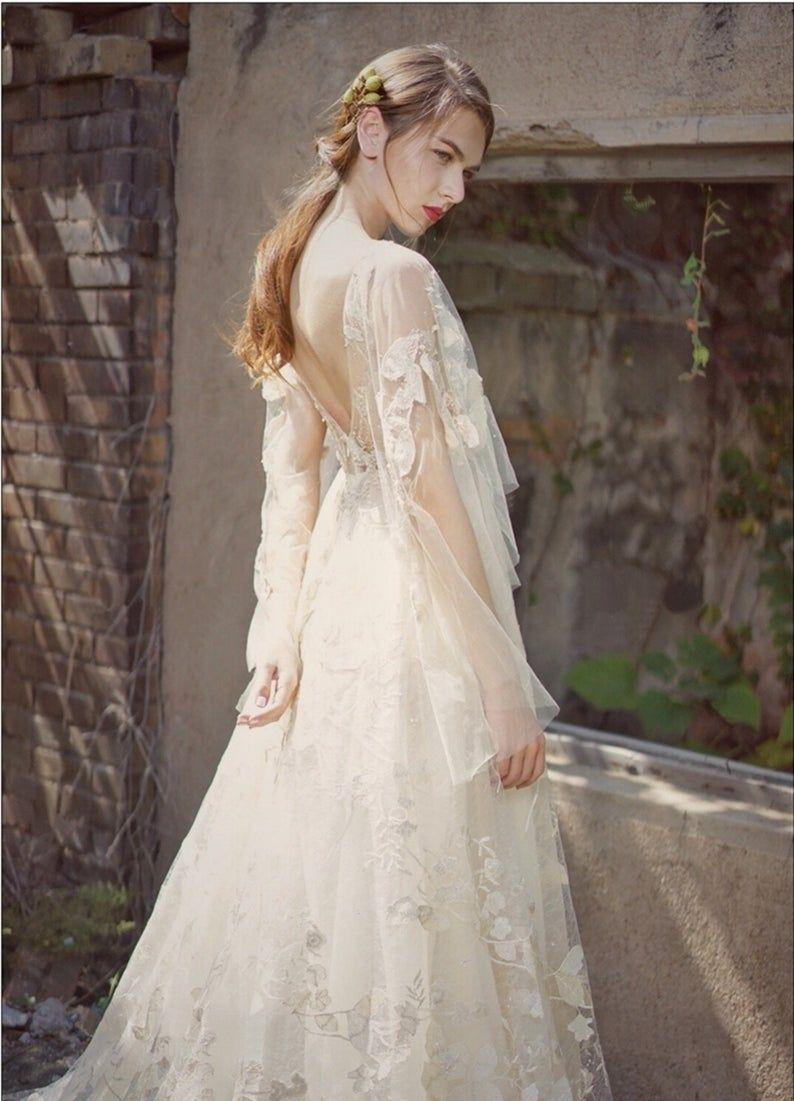 Bohemian Wedding Dress V Neck Wedding Gown Sheer V Back Etsy In 2021 Casual Beach Wedding Dress Wedding Dress Train Wedding Dress Long Sleeve [ 1101 x 794 Pixel ]