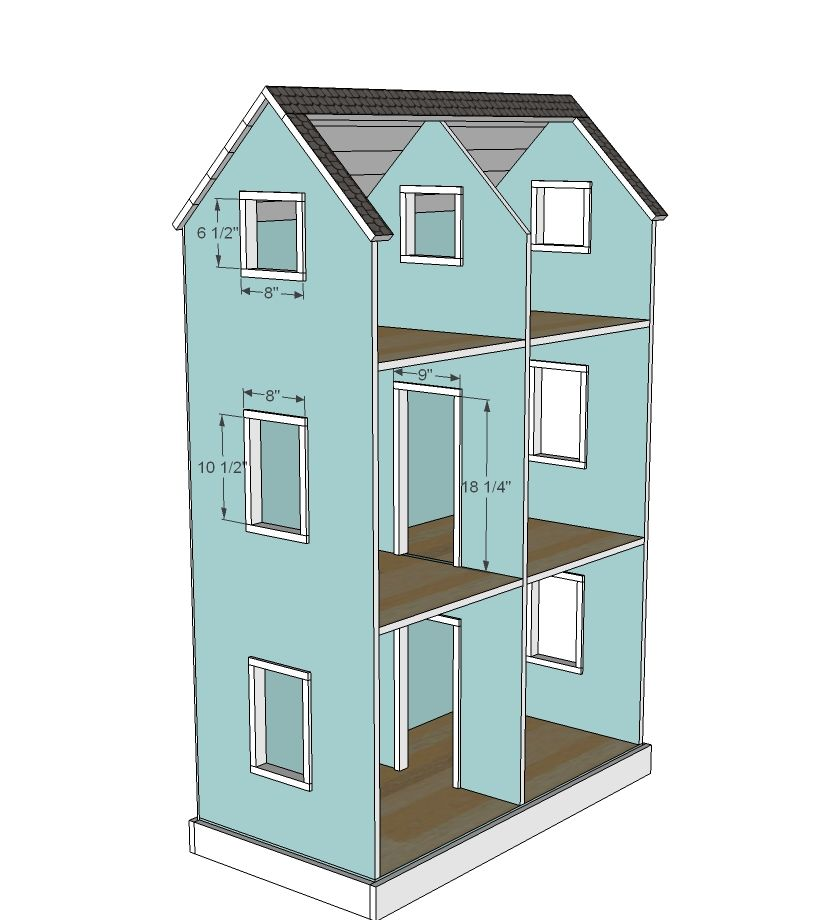 Ana white build a three story american girl or 18 for Dollhouse building plans free