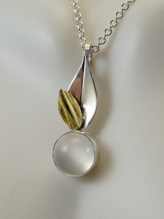Silver and Gold Moonstone Pendant Gold Leaf by LauraRoberson, $179.00