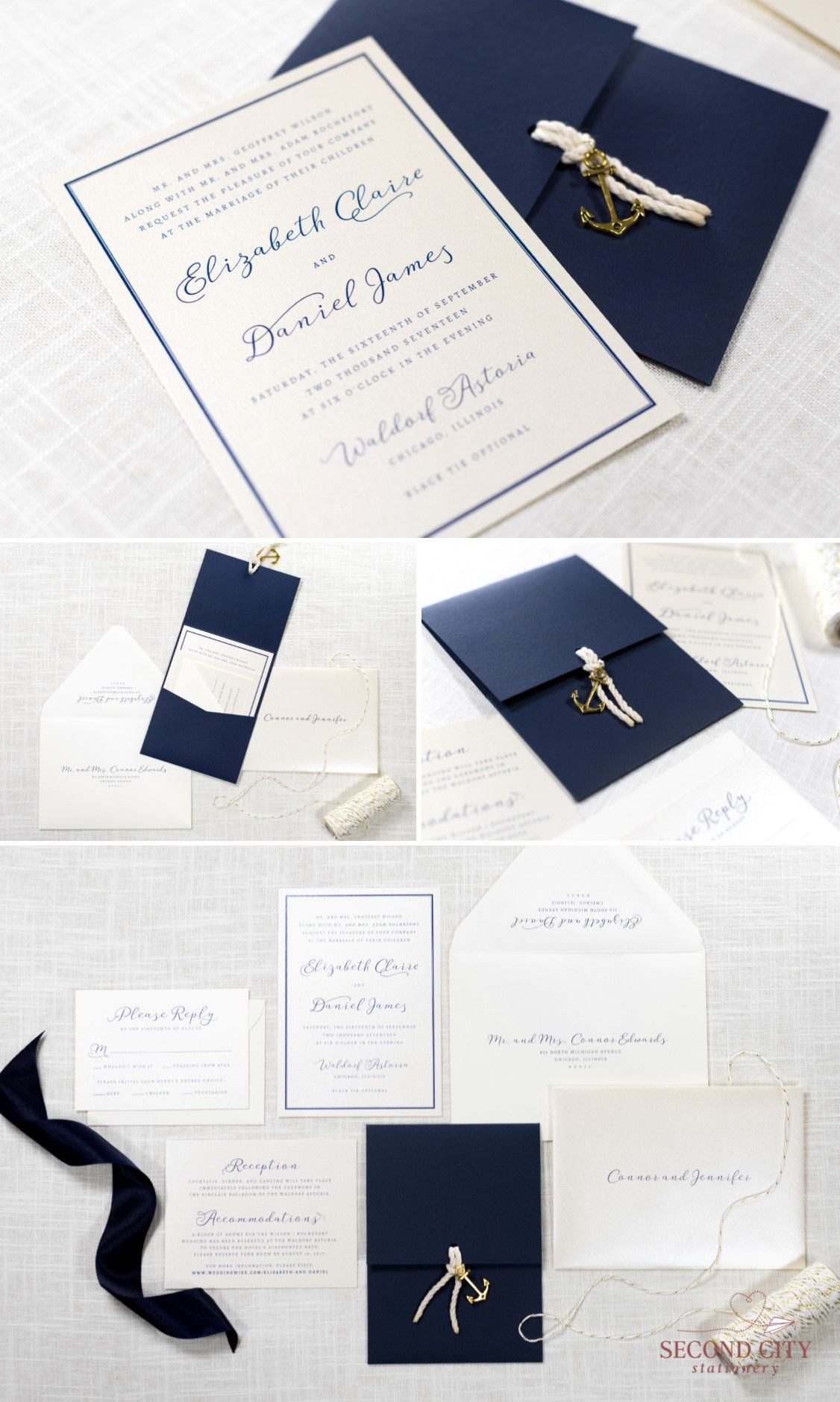 Nautical Anchor Charm and Rope Wedding Invitation in Navy, Ivory ...