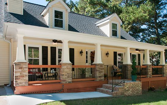 We Were Given The Opportunity To Transform A Pretty Cape Cod Home By Adding A Beautiful Craftsman Exterior House Remodel Craftsman Porch Craftsman House Plans