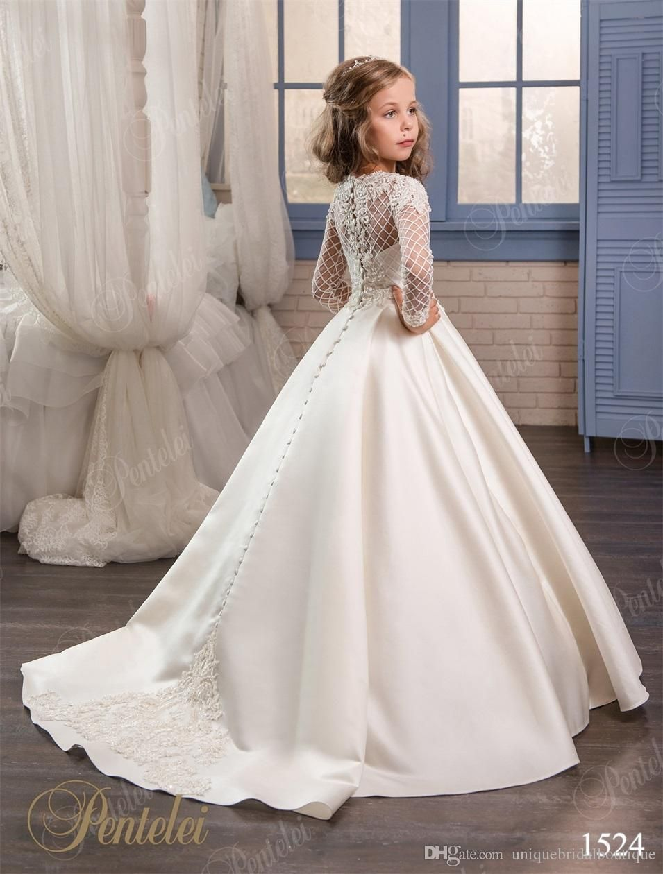 Wedding dresses for little girls 2017 pentelei cheap with long wedding dresses for little girls 2017 pentelei cheap with long sleeves and pockets appliques satin ivory flower girl dresses toddler white dress to ombrellifo Image collections