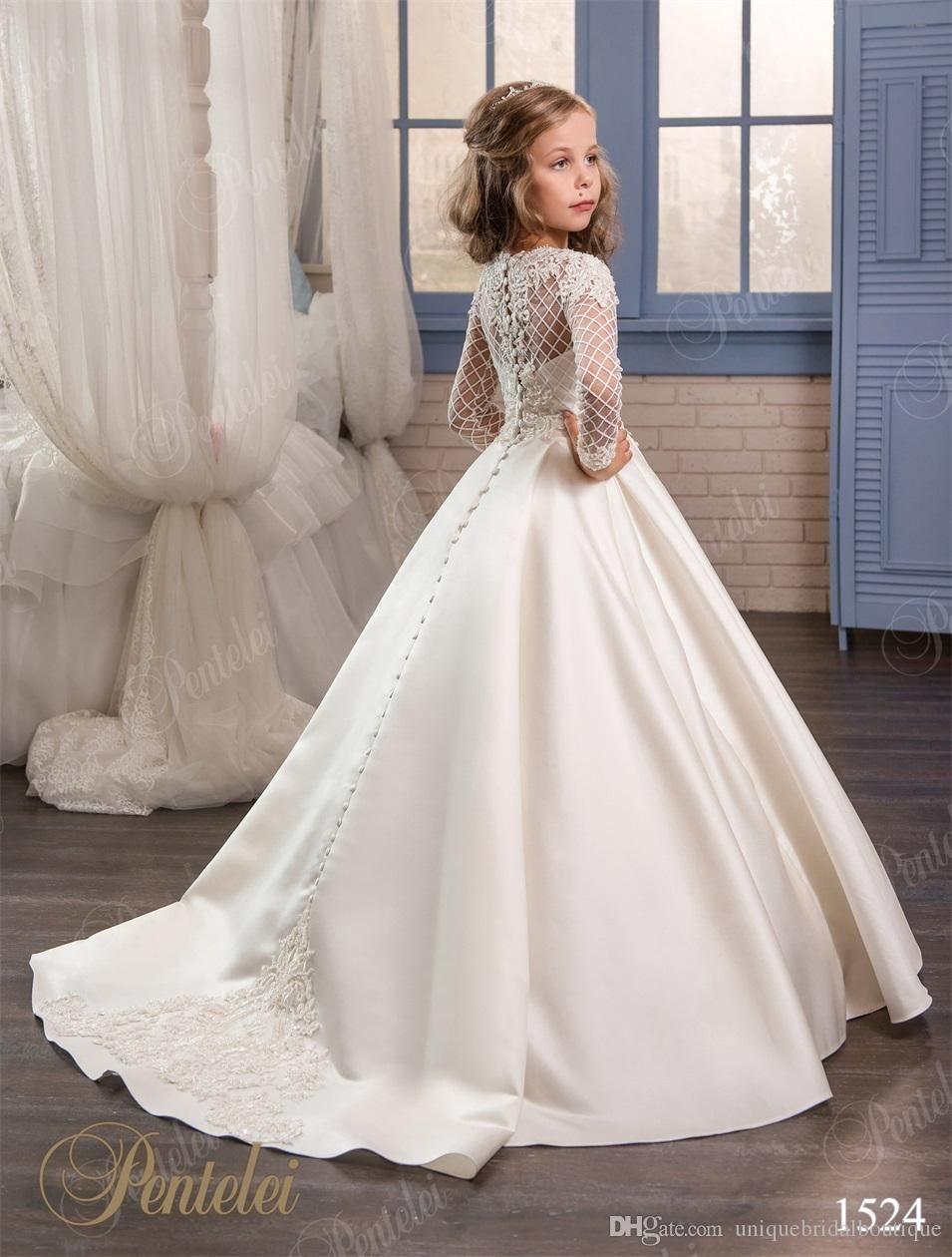 Wedding Dresses For Little Girls 2017 Pentelei Cheap With Long ...