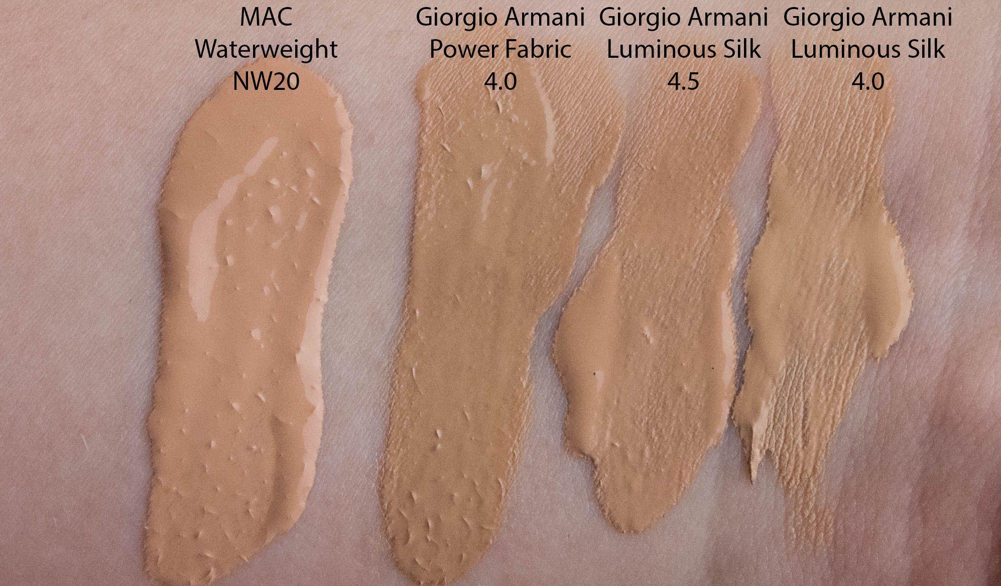 Giorgio Armani Power Fabric Foundation Swatches Cosmeticos