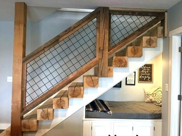 industrial farmhouse stair railing stairs rustic basement ...