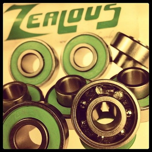 #Zealous bearings have become the bearings of choice for many #longborders since they came out. I use them, and would say that they are significantly superior to any of the comparably priced ($14) bearings currently produced, and are equal to similar bearings costing 2 to 3 times as much. Compared to what is considered the standard, Bones, I would say that they are smoother quieter and roll just as well as Bones Super Reds, once broken in. They are no hassle, with built-in speed rings…