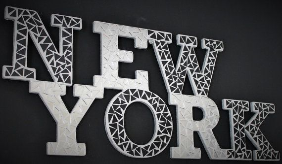 lettering wooden mirror mosaic New york
