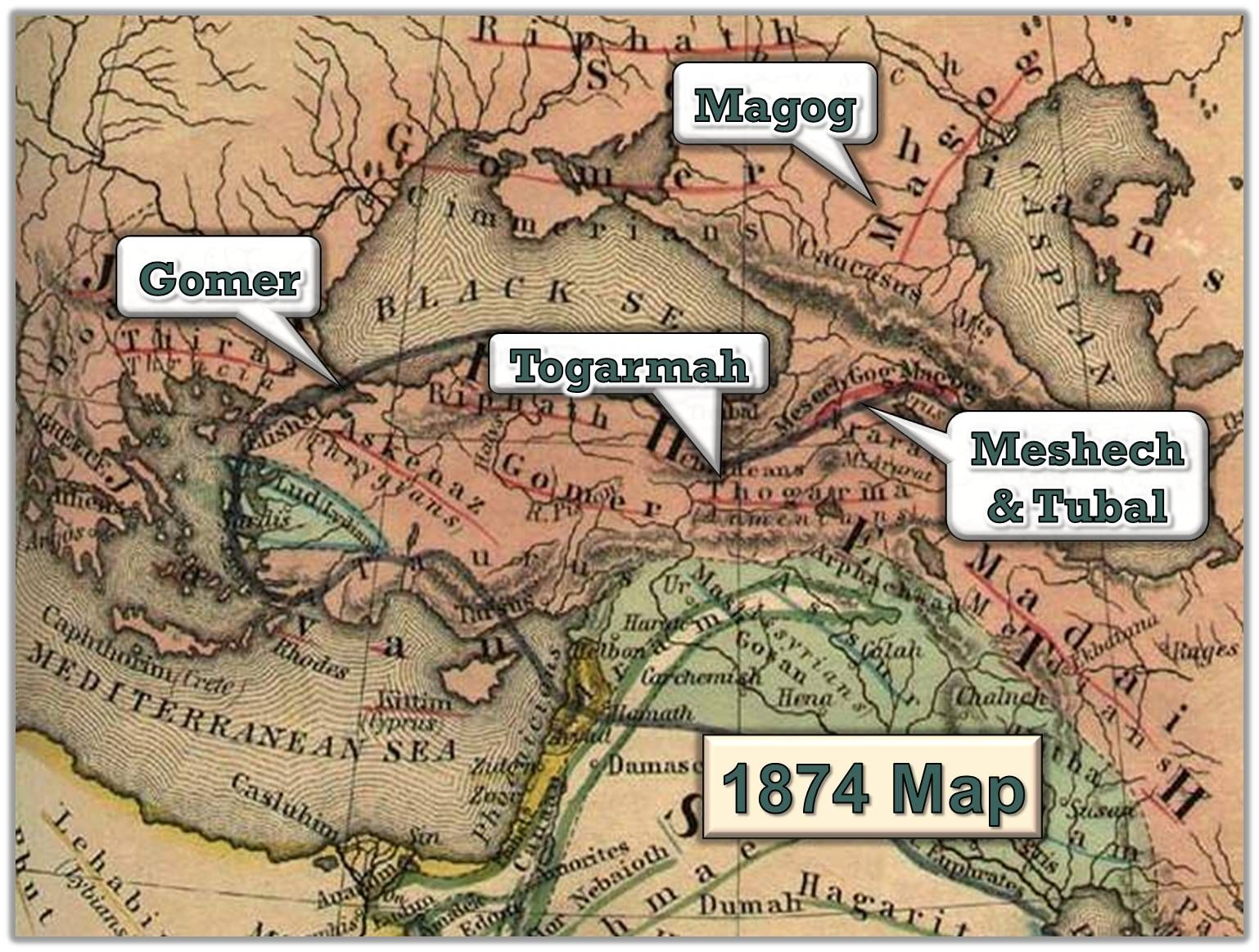 an 1874 map with biblical placenames indicating